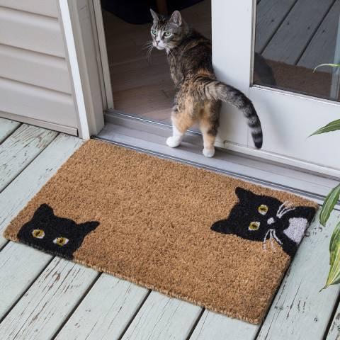 Entryways Black/Brown Peeping Cats Non Slip Coir Doormat 40x60cm