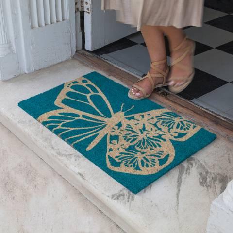 Entryways Blue Butterfly Non-Slip Coir Doormat 40x60cm