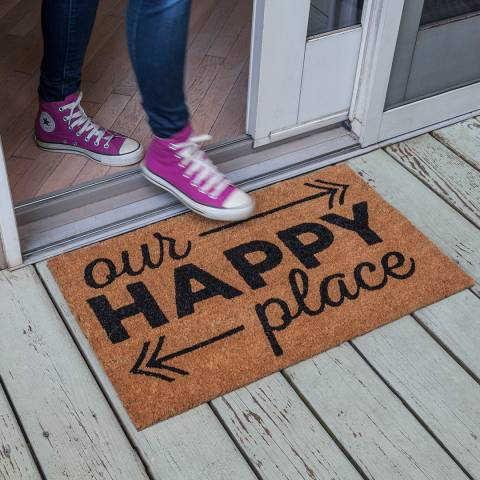 Entryways Black Happy Place Non-Slip Coir Doormat 40x60cm