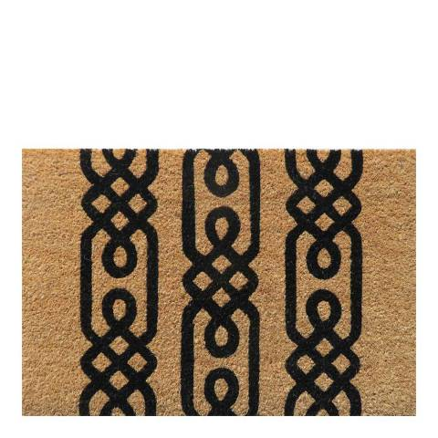 Entryways Black/Brown Nodus Non-Slip Coir Doormat 40x60cm