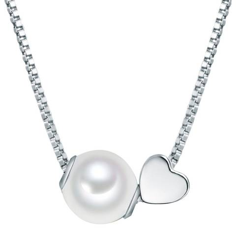 The Pacific Pearl Company Silver Heart Fresh Water Cultured Pearl Necklace