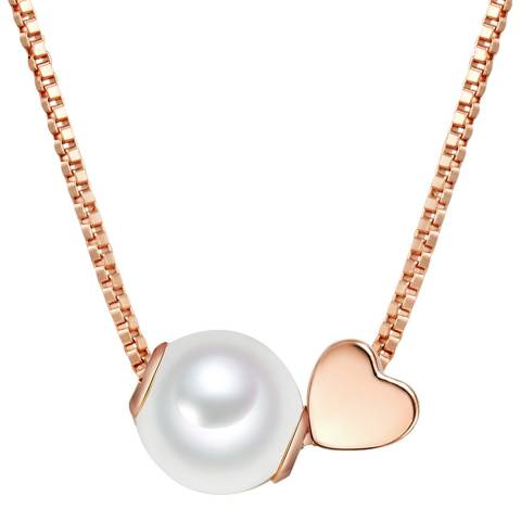 The Pacific Pearl Company Rose Gold Heart Fresh Water Cultured Pearl Necklace