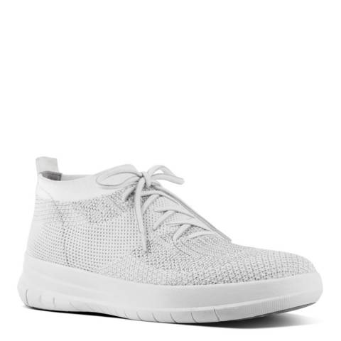 FitFlop Metallic Silver Uberknit Slip On High Top Sneakers