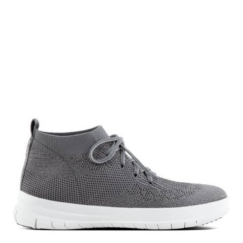FitFlop Charcoal Metallic Uberknit Slip On High Top Sneakers