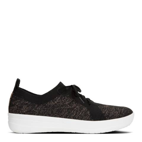 FitFlop Black/Bronze F-Sporty Uberknit Slip On Metallic Sneakers