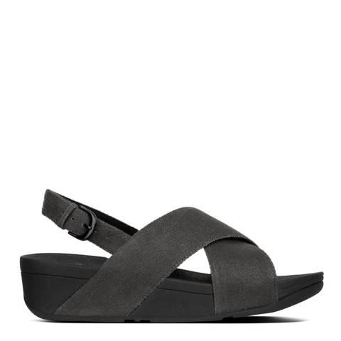 FitFlop Black Denim Lulu Shimmer Cross Back Strap Sandals
