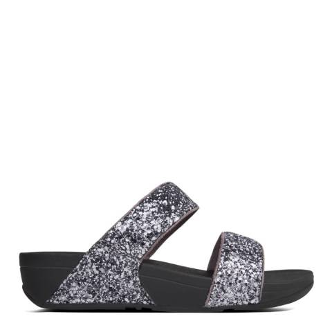 FitFlop Pewter Leather Glitterball Slide Sandals