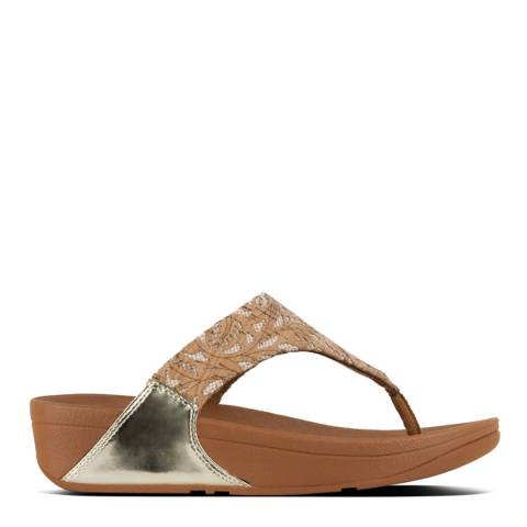 FitFlop Cork/Gold Lulu Toe Post Metallic Patterned Sandals