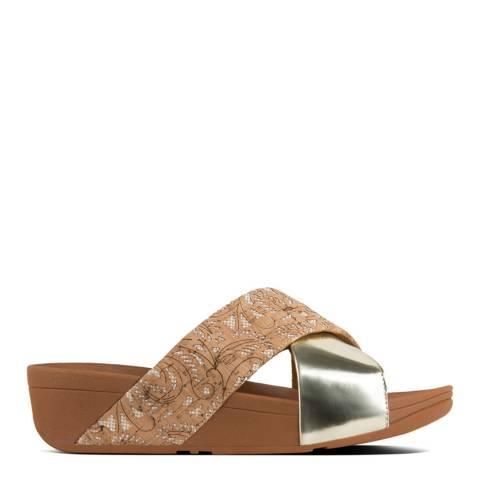 FitFlop Cork/Gold Lulu Cross Slide Metallic Patterned Sandals