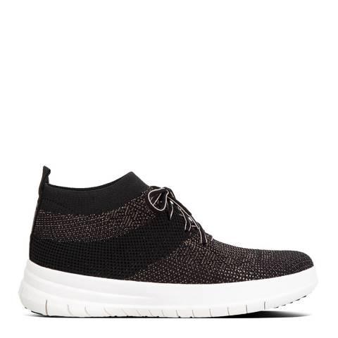 FitFlop Black/Bronze Uberknit High Top Metallic Sneakers