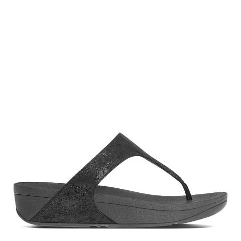 FitFlop Black Suede Shimmy Glimmer Toe Post Sandals