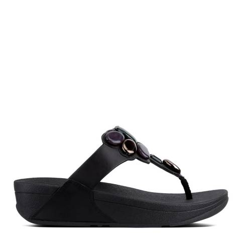 FitFlop Black Leather Honeybee Jewelled Sandals