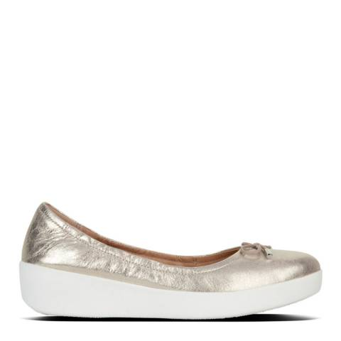 FitFlop Metallic Silver Leather Superbendy Ballerina Pumps