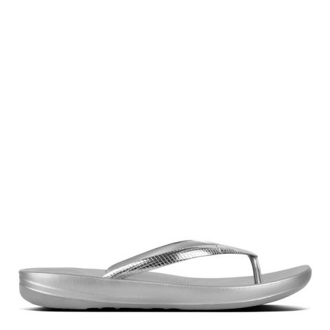 FitFlop Silver iQushion Ergonomic Mirror Snake Flip Flops