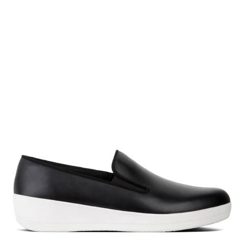 FitFlop Black Leather Superskate Slip on Trainers