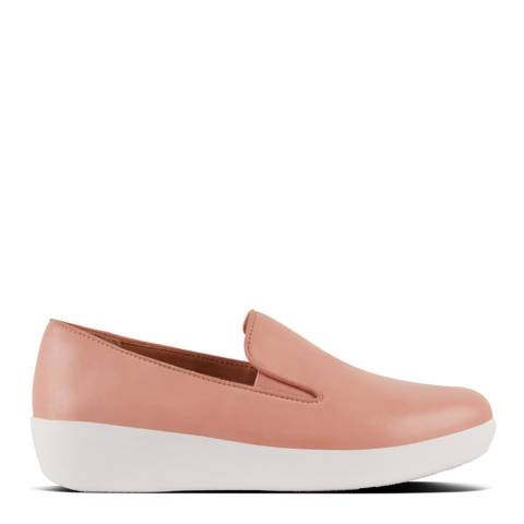 FitFlop Dusky Pink Leather Superskate Slip on Trainers