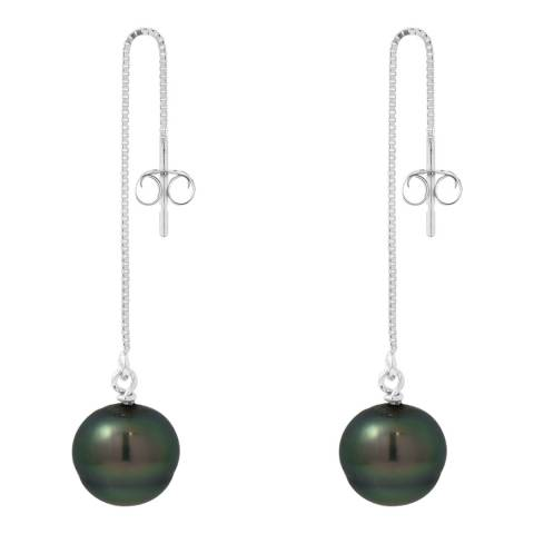 Mitzuko Silver Rhodium Alloy Earrings With Real Cultured Tahiti Pearls