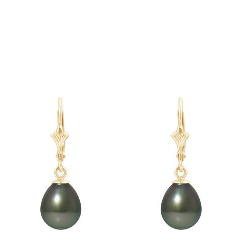 Mitzuko Yellow Gold Earrings with Real Cultured Tahiti Pearls