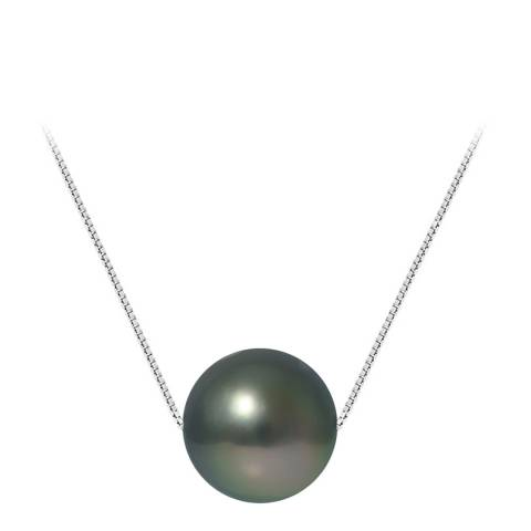 Mitzuko Silver Rhodium Alloy Necklace With Real Cultured Tahiti Pearls