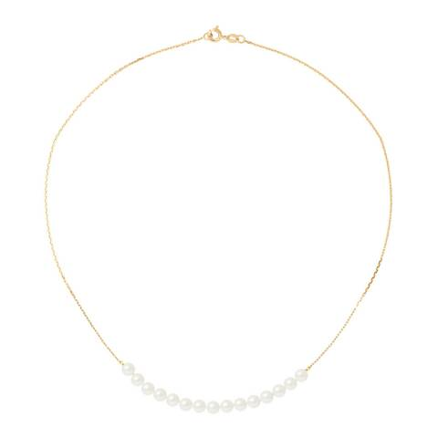 Mitzuko Yellow Gold Necklace with Real Cultured Freshwater Pearls