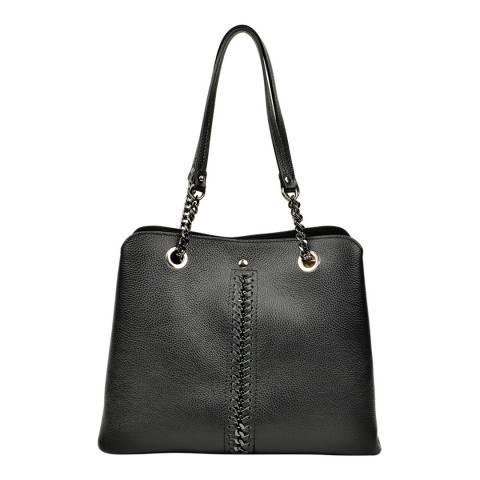 Luisa Vannini Black Leather Stitch Detail Top Handle Bag