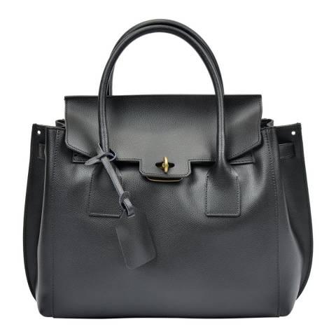 Luisa Vannini Black Leather Buckle Closure Tote Bag