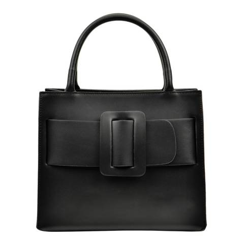 Luisa Vannini Black Leather Belt Detail Handbag