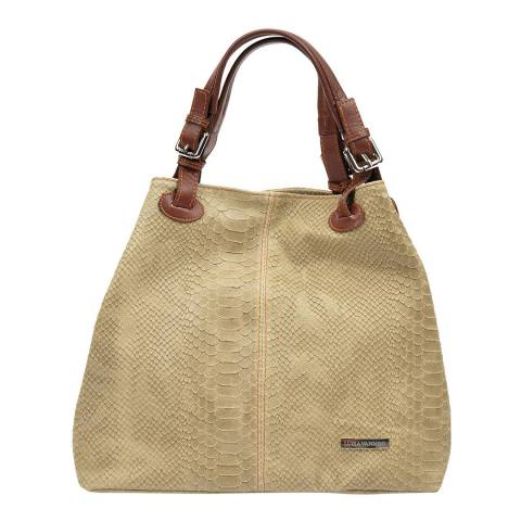 Luisa Vannini Tan Leather Patterned Tote Bag