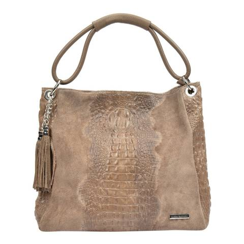 Luisa Vannini Tan Leather Tote Bag with Tassel Detail