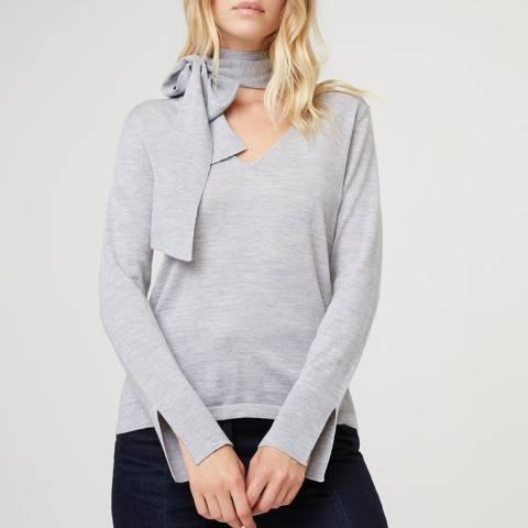 Rodier Light Grey Tie Collar Wool Jumper