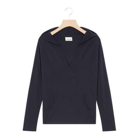 Rodier Navy Hooded Cashmere Mix Jumper