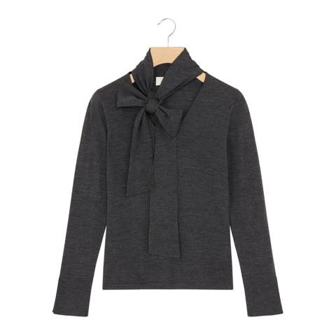 Rodier Charcoal Tie Collar Wool Jumper