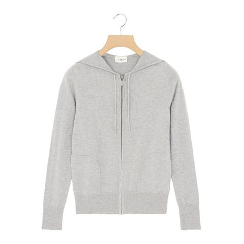 Rodier Light Grey Cashmere Mix Hoodie Cardigan