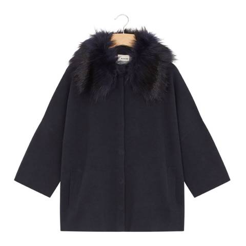 Rodier Navy Cashmere Mix Faux Fur Collar Cardigan
