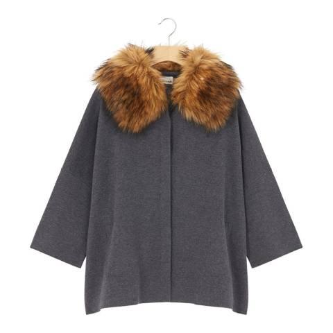 Rodier Dark Grey Cashmere Mix Faux Fur Collar Cardigan