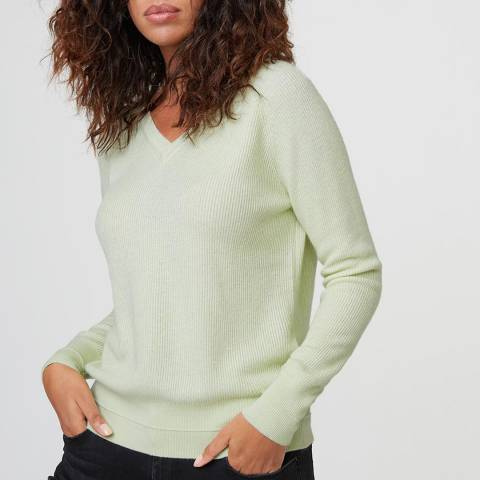 Rodier Light Green Cashmere Mix V Neck Pullover