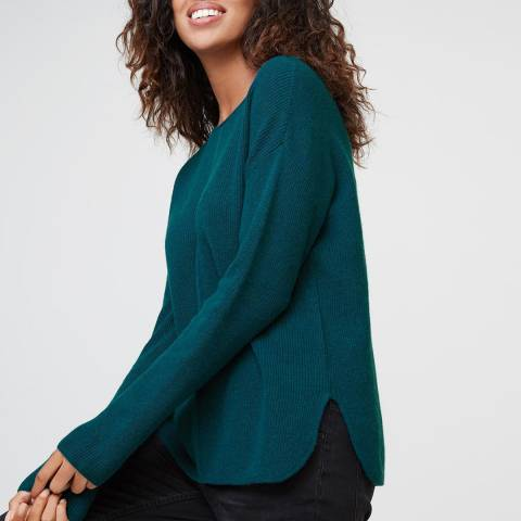 Rodier Green Cashmere Mix Ribbed Round Neck Jumper