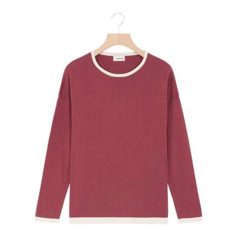 Rodier Red Cashmere Mix Round Neck Pullover