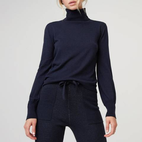 Rodier Navy Cashmere Mix Roll Neck Pullover