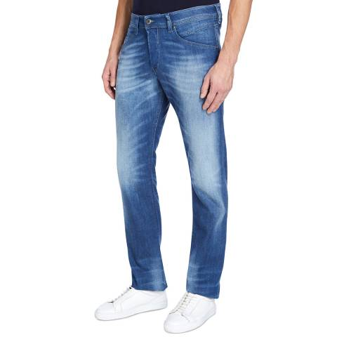 Diesel Washed Denim Belther Tapered Stretch Jeans