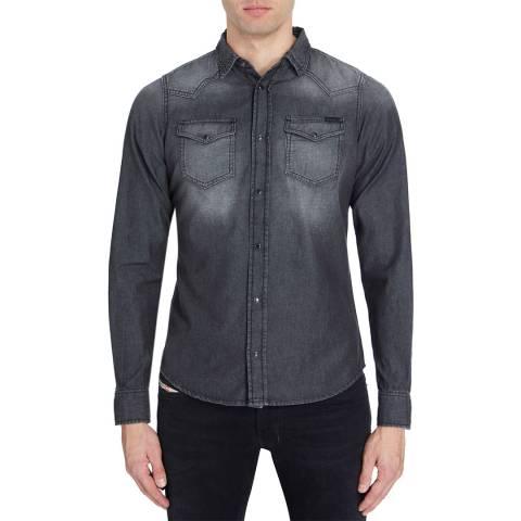 Diesel Washed Black Denim Sonora Cotton Shirt