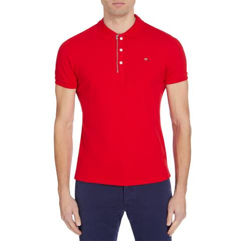 Diesel Red Kalars Zipped Cotton Polo Top