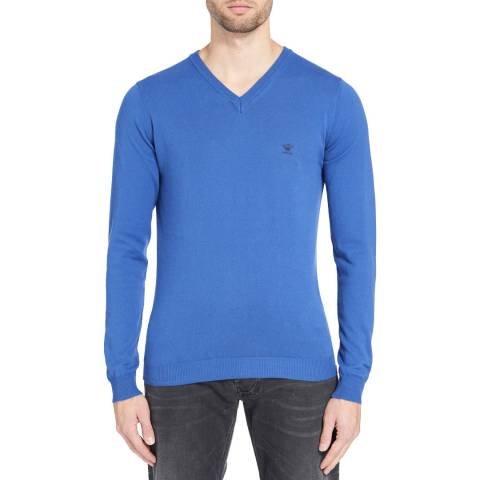 Diesel Blue Bentinew Cotton Blend Jumper