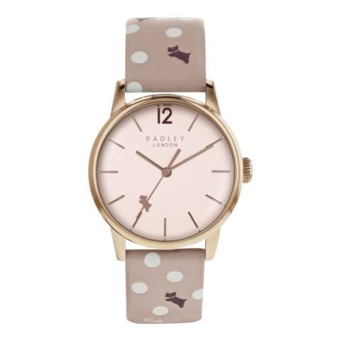 Radley Pale Rose Gold Satin Dial & Patterned Strap Watch