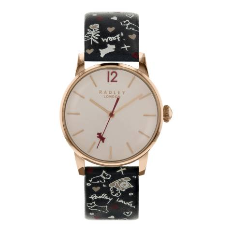Radley Rose Gold Satin Dial & Ink Strap Watch