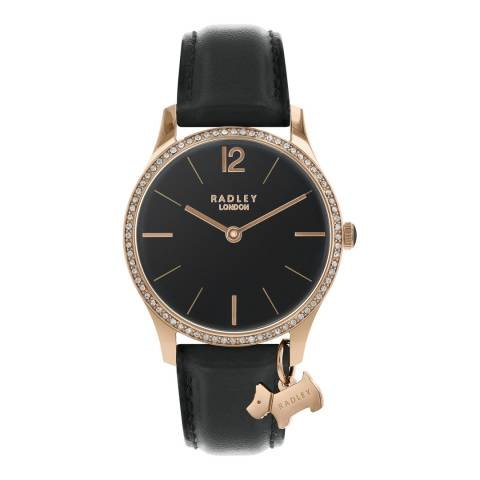 Radley Black Satin Dial & Black Strap Watch