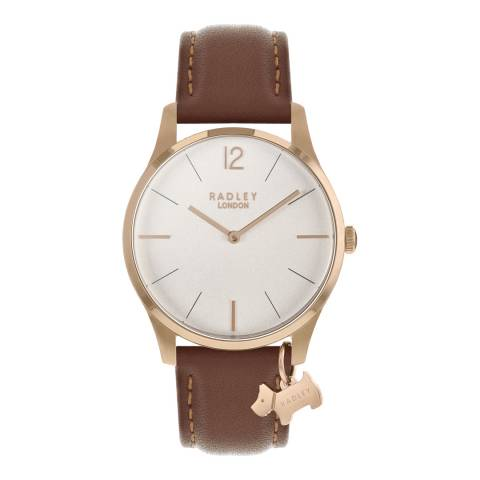 Radley Silver White Satin Dial & Indus Tan Strap Watch