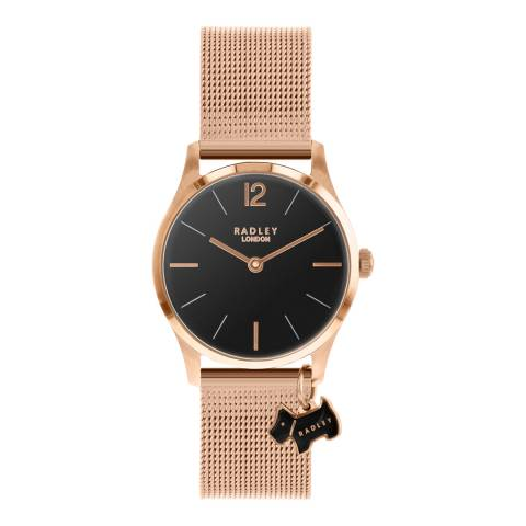Radley Black Dial & Rose Gold Mesh Bracelet Watch