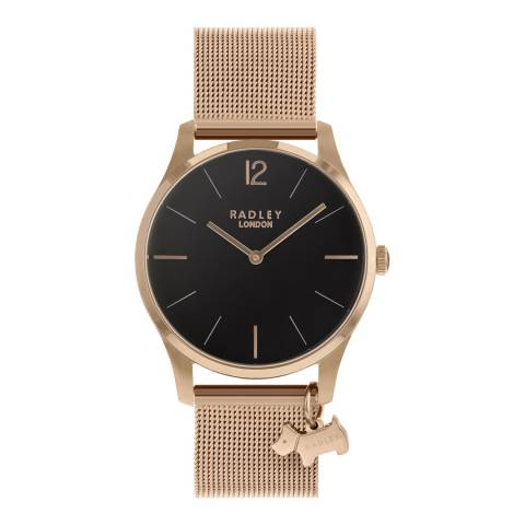 Radley Black Dial Rose Gold Stainless-Steel Mesh Bracelet Watch