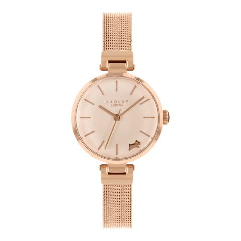 Radley Rose Gold Satin Dial T-Bar Stainless-Steel Mesh Bracelet Watch
